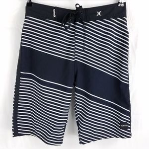 Hurley Black Striped Board Shorts 28
